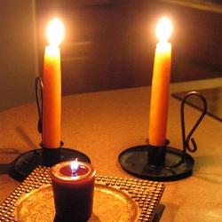 Blizzard Lit Candles
