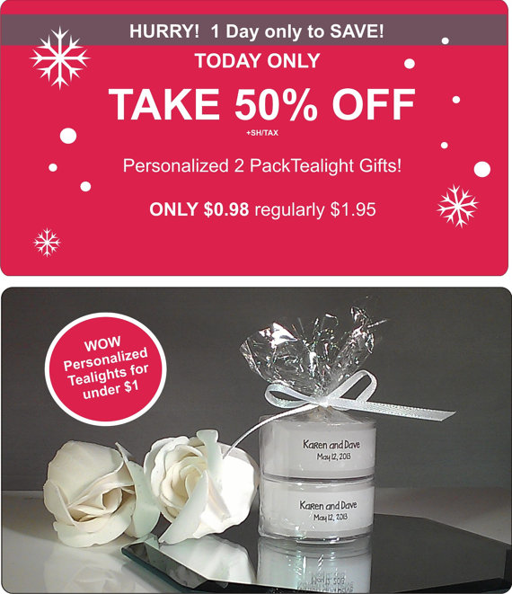 Black Friday 50% OFF Sale ~ Personalized Wedding Tealights Under $1 each!